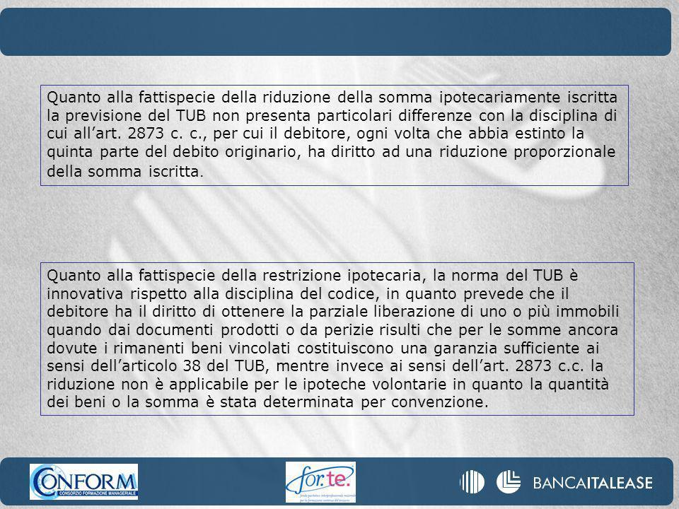 Quanto alla fattispecie della riduzione della somma ipotecariamente iscritta la previsione del TUB non presenta particolari differenze con la disciplina di cui allart.