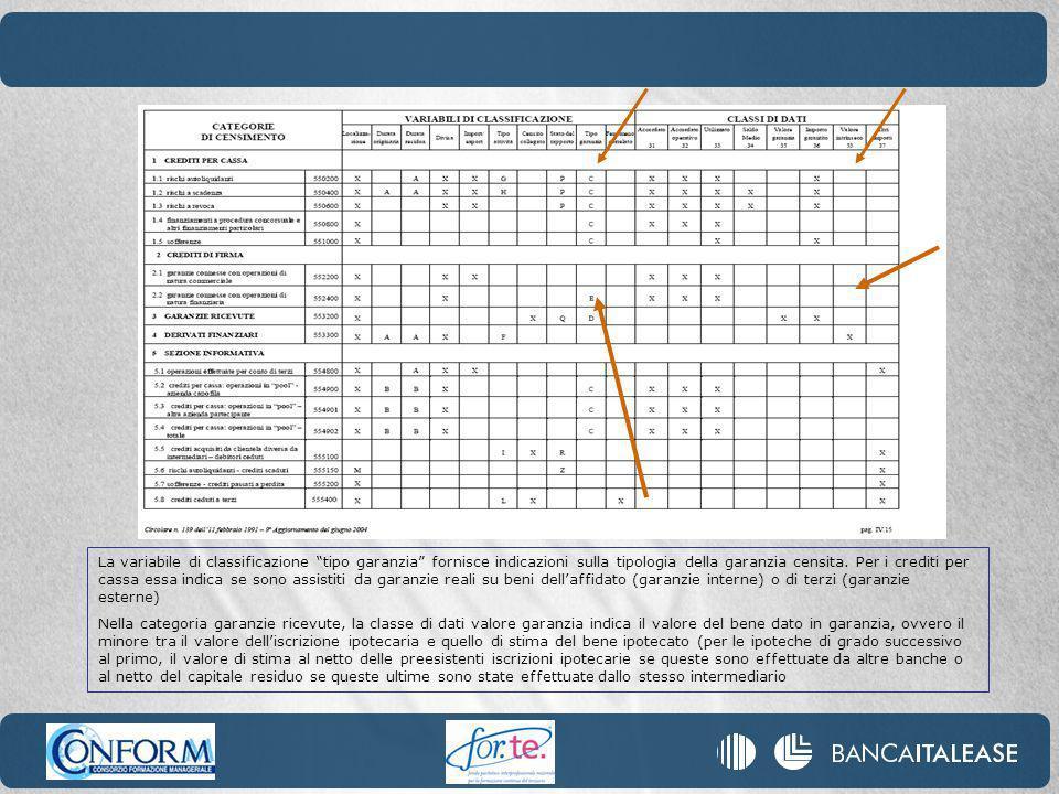 La variabile di classificazione tipo garanzia fornisce indicazioni sulla tipologia della garanzia censita.