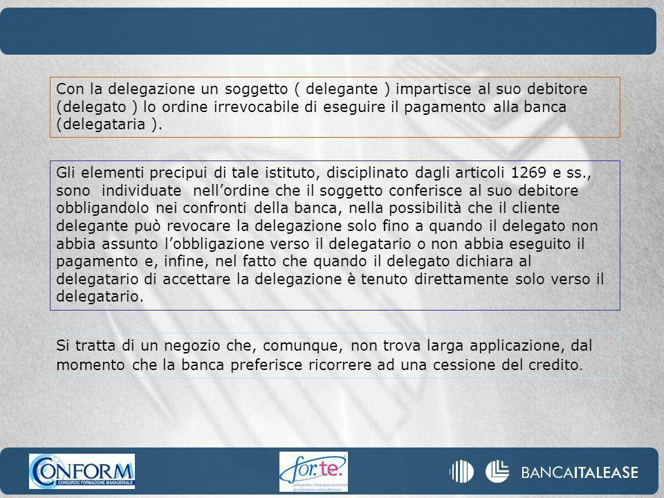 Con la delegazione un soggetto ( delegante ) impartisce al suo debitore (delegato ) lo ordine irrevocabile di eseguire il pagamento alla banca (delegataria ).