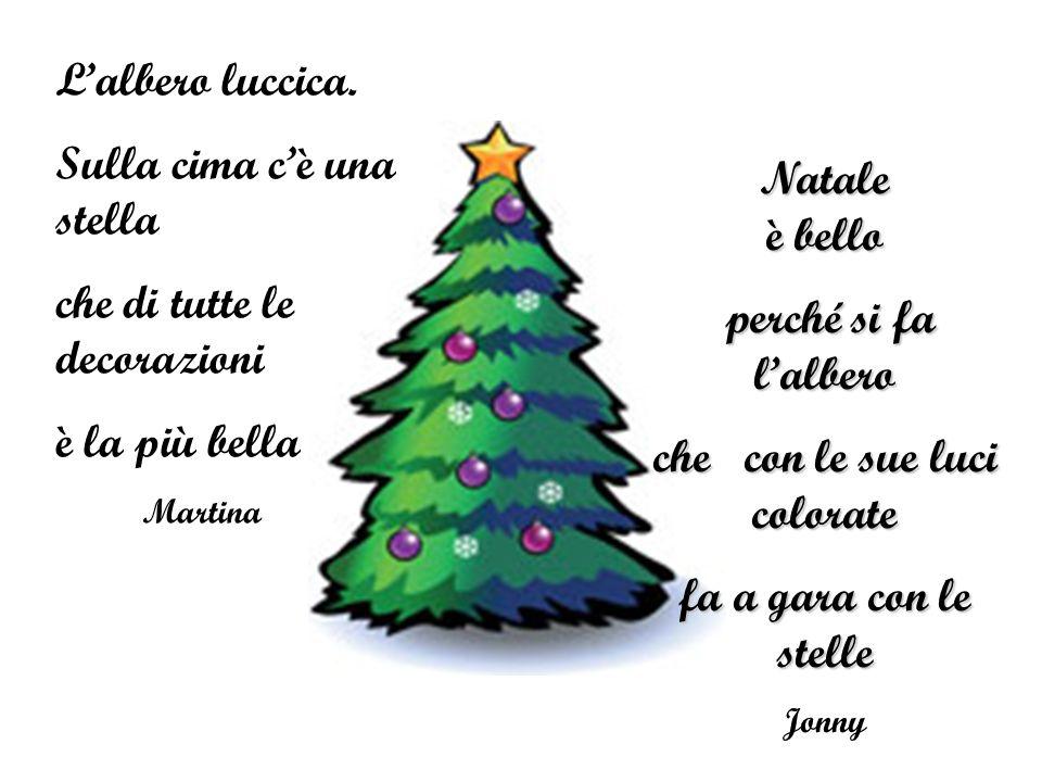 Lalbero luccica. Sulla cima cè una stella che di tutte le decorazioni è la più bella Martina Natale è bello perché si fa lalbero perché si fa lalbero