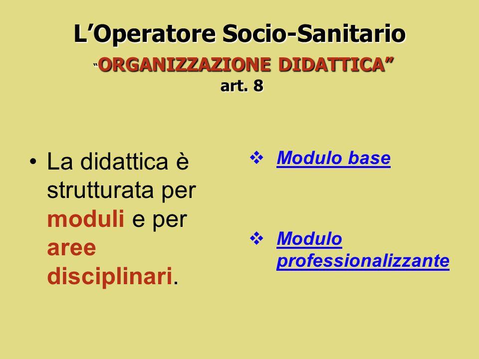 LOperatore Socio-Sanitario art. 7 LOperatore Socio-Sanitario REQUISITI DI ACCESSO art. 7 Per laccesso ai corsi di formazione dellOSS è richiesto come