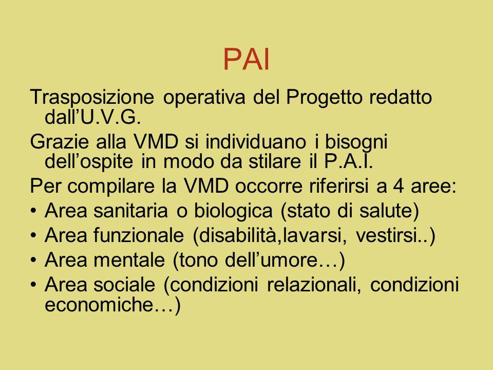 DIVERSI P.A.I. P.A.I. DOMICILIARE: 1.raccolta dati considerando la gradualità che il contesto domiciliare richiede considerando: 2.Cura della persona