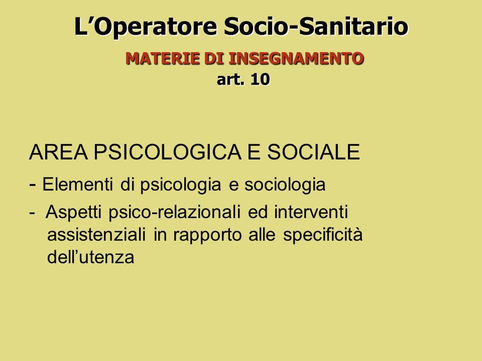 LOperatore Socio-Sanitario MATERIE DI INSEGNAMENTO art. 10 AREA SOCIO CULTURALE, ISTITUZIONALE E LEGISLATIVA -Elementi di legislazione nazionale e reg