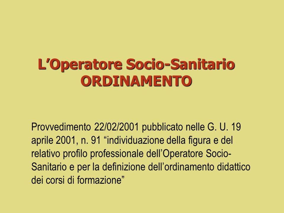 LOperatore Socio-Sanitario ORDINAMENTO Provvedimento 22/02/2001 pubblicato nelle G.
