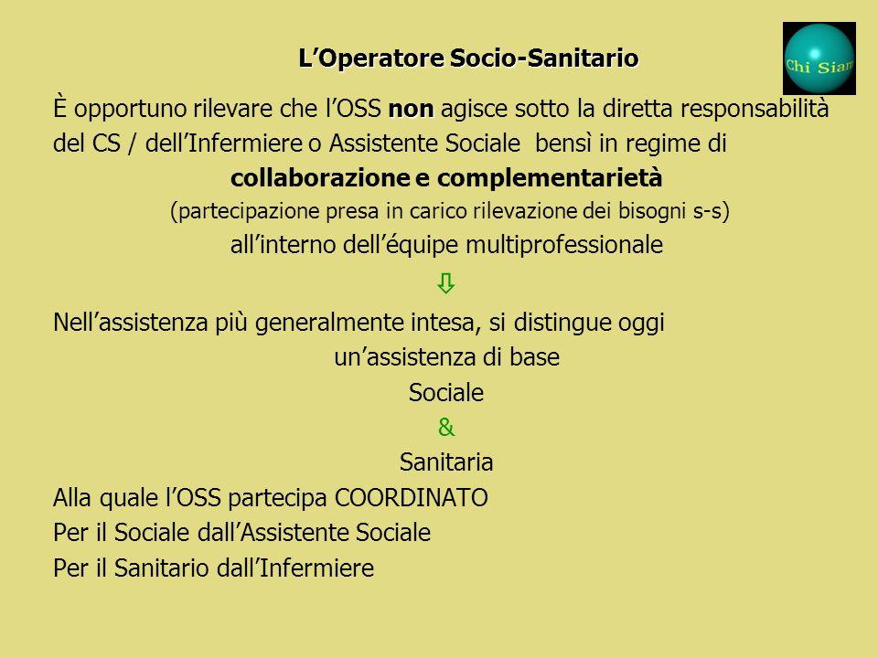 LOperatore Socio-Sanitario È loperatore che a seguito dellattestato di qualifica (formazione) svolge attività indirizzata a: a.soddisfare i bisogni pr