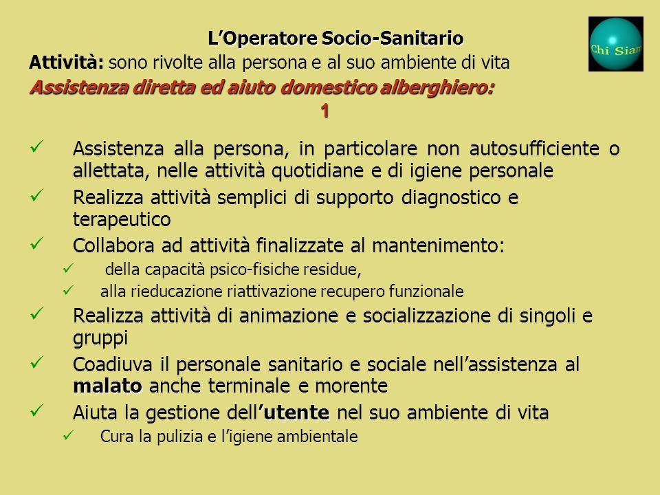 Le attività dellOperatore Socio-Sanitario sono rivolte alla persona e al suo ambiente di vita: Le attività dellOperatore Socio-Sanitario sono rivolte