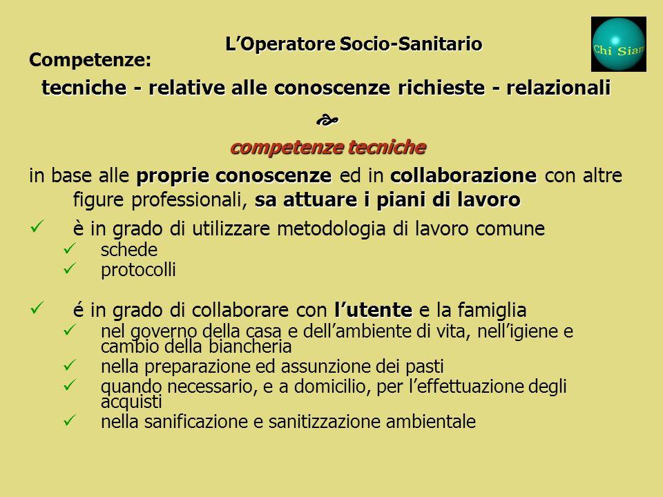 Competenze: 1. tecniche 2. relative alle conoscenze richieste 3. relazionali Le competenze dellOperatore Socio-Sanitario Le competenze dellOperatore S