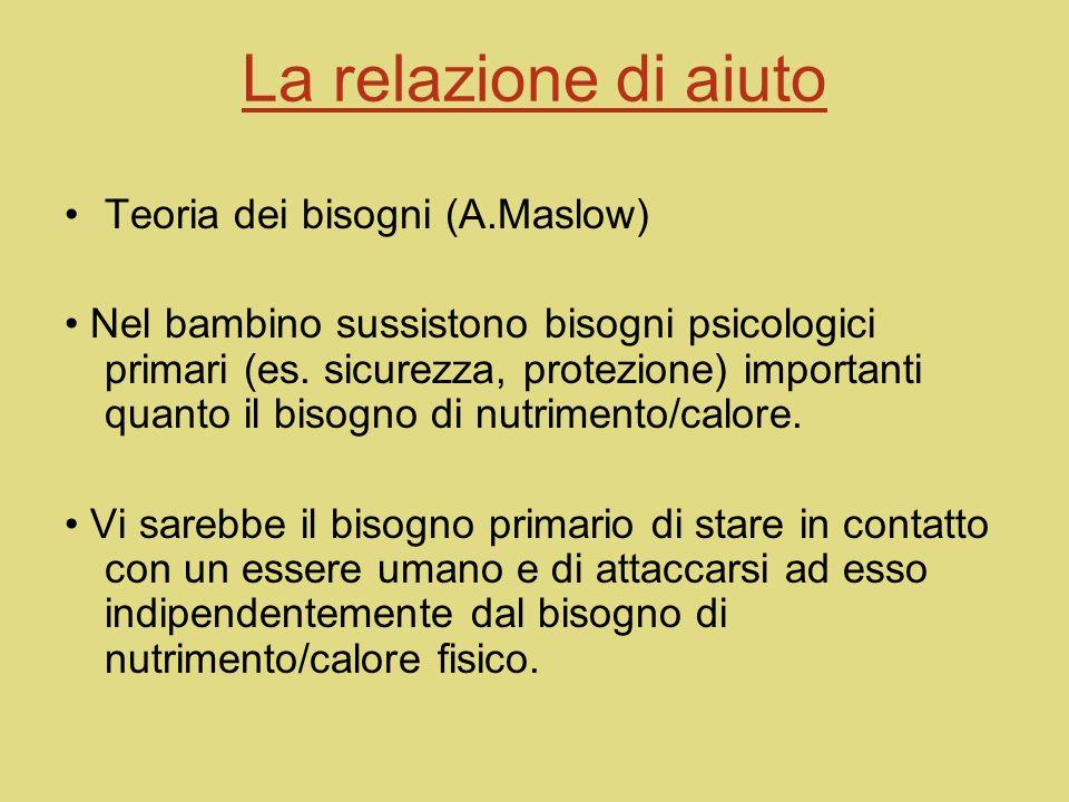 La relazione di aiuto Teoria psico-biologica dellapprendimento (Bowlby) Il bambino è sollecitato a costruire una relazione con ladulto per ottenere un