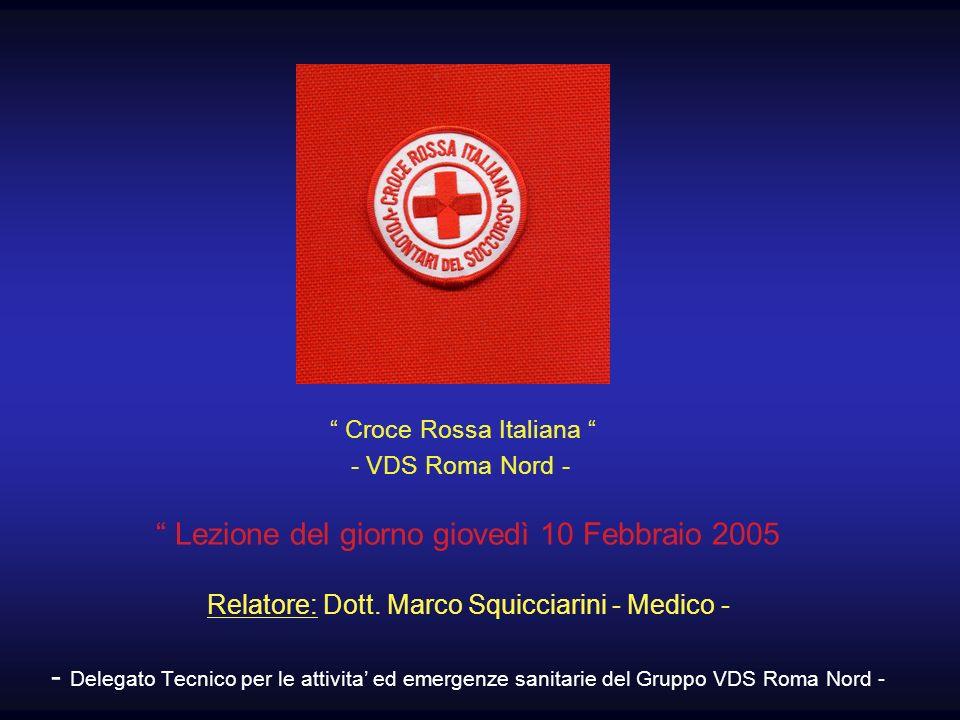 Lezione del giorno giovedì 10 Febbraio 2005 Relatore: Dott. Marco Squicciarini - Medico - - Delegato Tecnico per le attivita ed emergenze sanitarie de