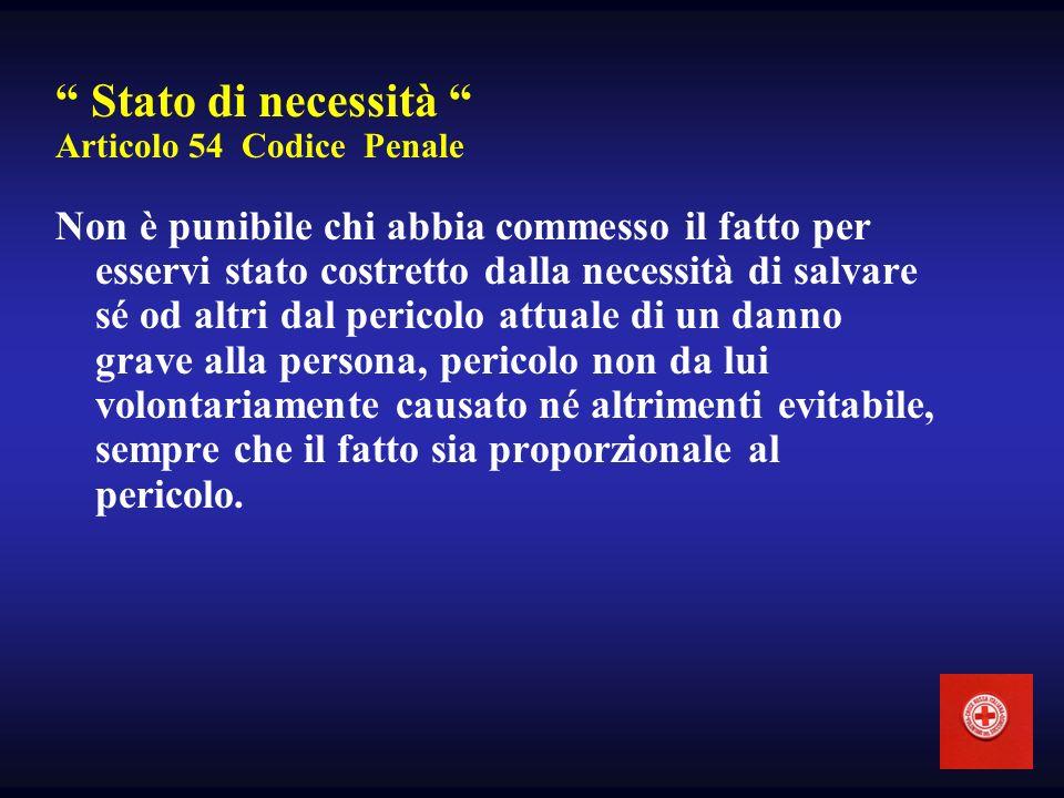 Stato di necessità Articolo 54 Codice Penale Non è punibile chi abbia commesso il fatto per esservi stato costretto dalla necessità di salvare sé od a
