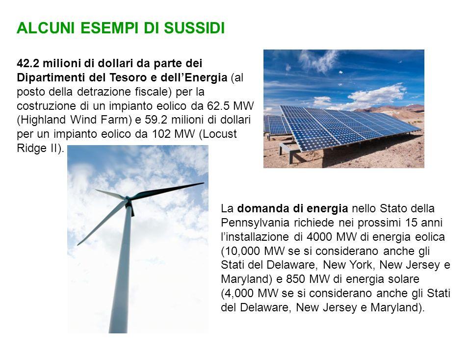 ALCUNI ESEMPI DI SUSSIDI 42.2 milioni di dollari da parte dei Dipartimenti del Tesoro e dellEnergia (al posto della detrazione fiscale) per la costruz