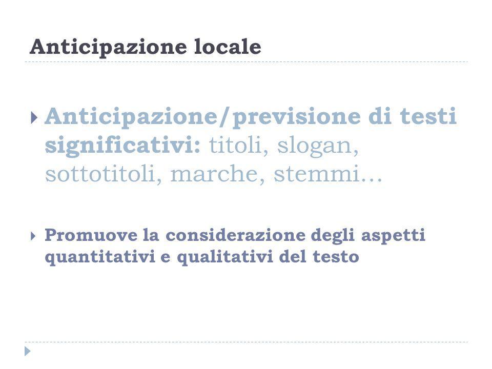 Anticipazione locale Anticipazione/previsione di testi significativi: titoli, slogan, sottotitoli, marche, stemmi… Promuove la considerazione degli as