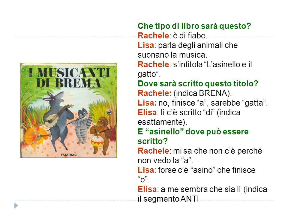Che tipo di libro sarà questo? Rachele: è di fiabe. Lisa: parla degli animali che suonano la musica. Rachele: sintitola Lasinello e il gatto. Dove sar