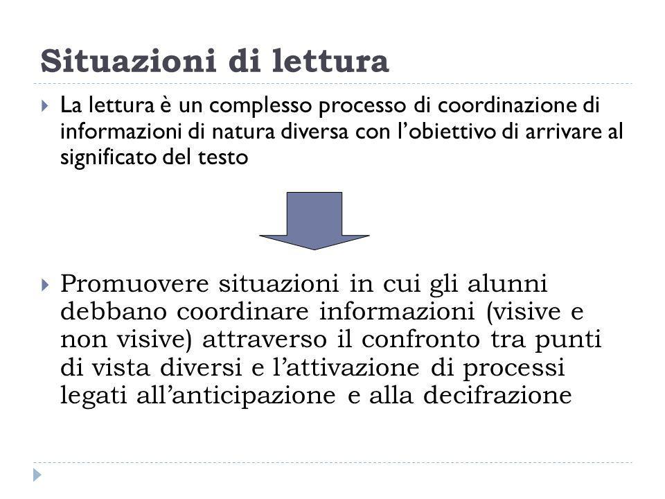 Situazioni di lettura La lettura è un complesso processo di coordinazione di informazioni di natura diversa con lobiettivo di arrivare al significato