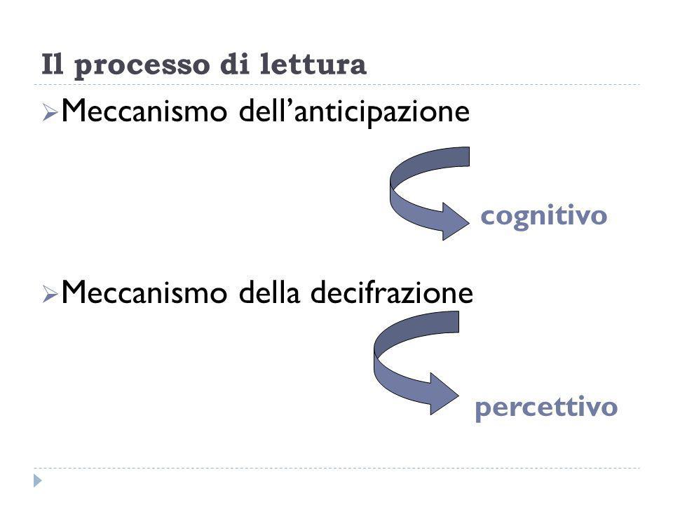Il processo di lettura Meccanismo dellanticipazione cognitivo Meccanismo della decifrazione percettivo
