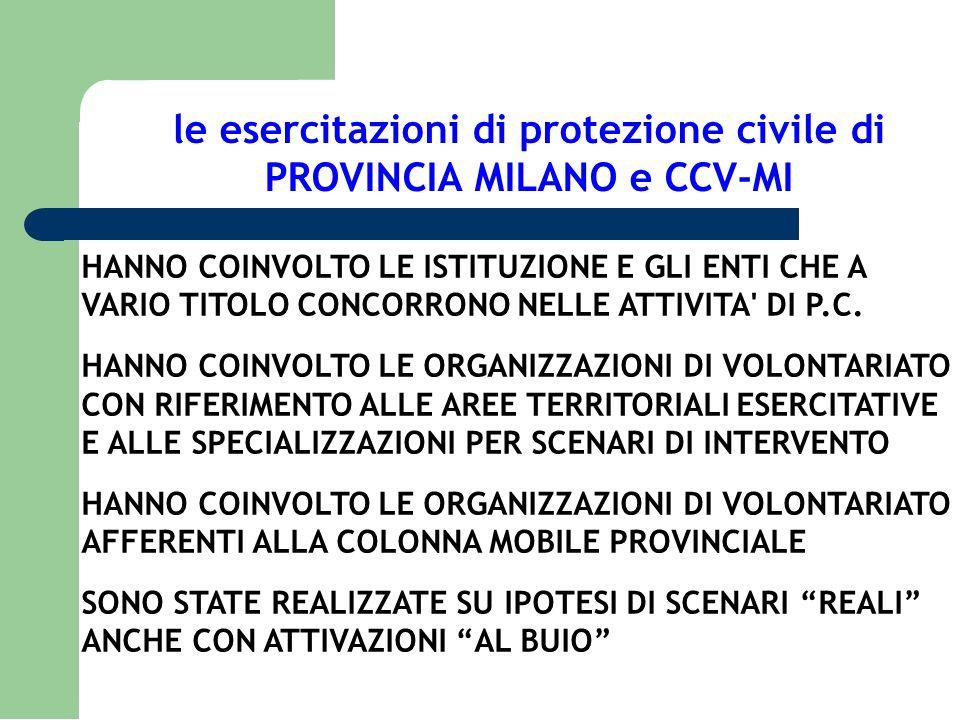 le esercitazioni di protezione civile di PROVINCIA MILANO e CCV-MI HANNO COINVOLTO LE ISTITUZIONE E GLI ENTI CHE A VARIO TITOLO CONCORRONO NELLE ATTIV