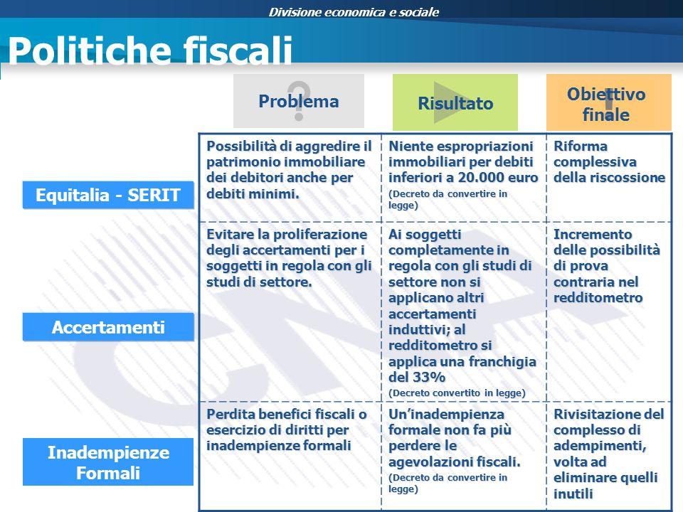 Divisione economica e sociale Politiche fiscali Equitalia - SERIT Accertamenti Inadempienze Formali Risultato Possibilità di aggredire il patrimonio immobiliare dei debitori anche per debiti minimi.