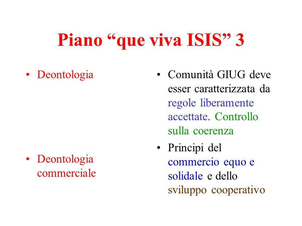 Piano que viva ISIS 3 Deontologia Deontologia commerciale Comunità GIUG deve esser caratterizzata da regole liberamente accettate. Controllo sulla coe
