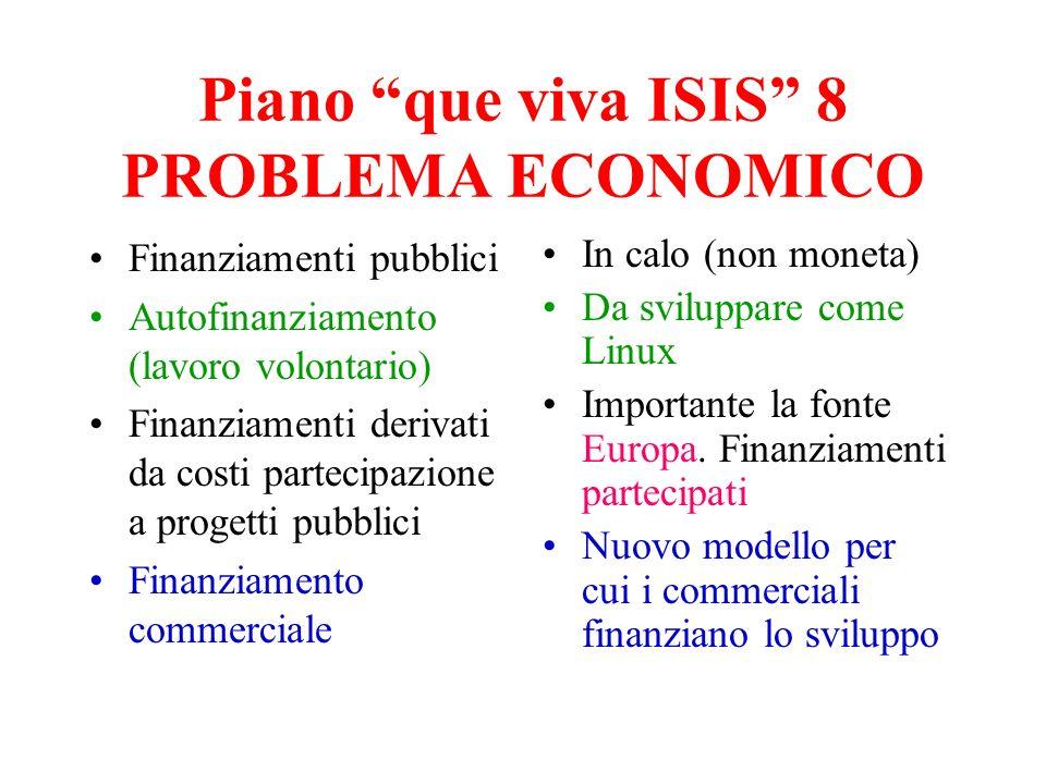 Piano que viva ISIS 8 PROBLEMA ECONOMICO Finanziamenti pubblici Autofinanziamento (lavoro volontario) Finanziamenti derivati da costi partecipazione a