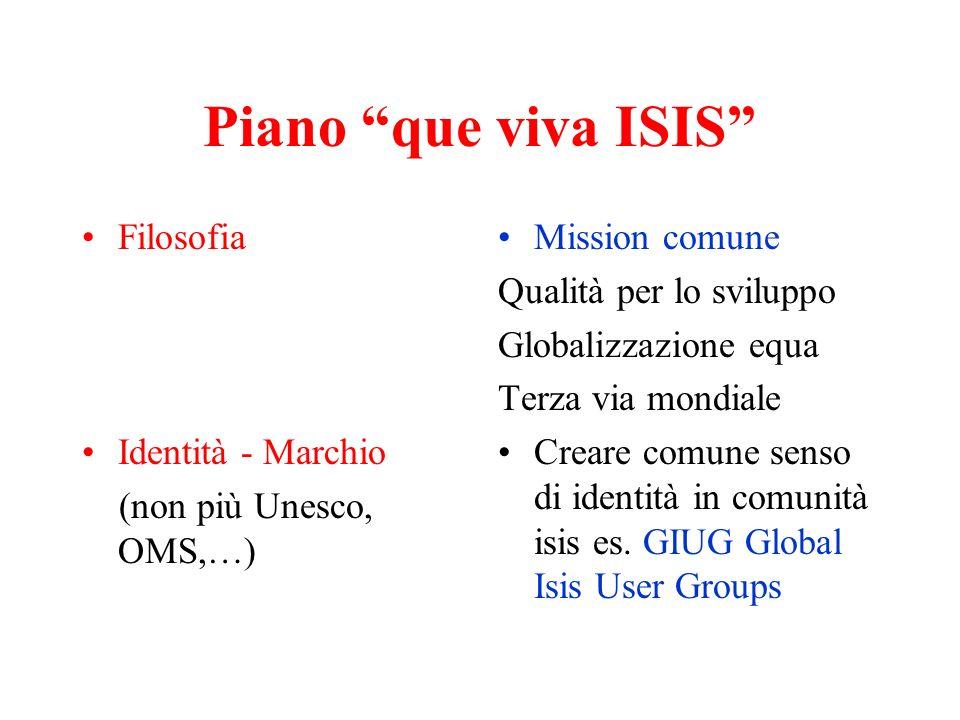 Piano que viva ISIS Filosofia Identità - Marchio (non più Unesco, OMS,…) Mission comune Qualità per lo sviluppo Globalizzazione equa Terza via mondial
