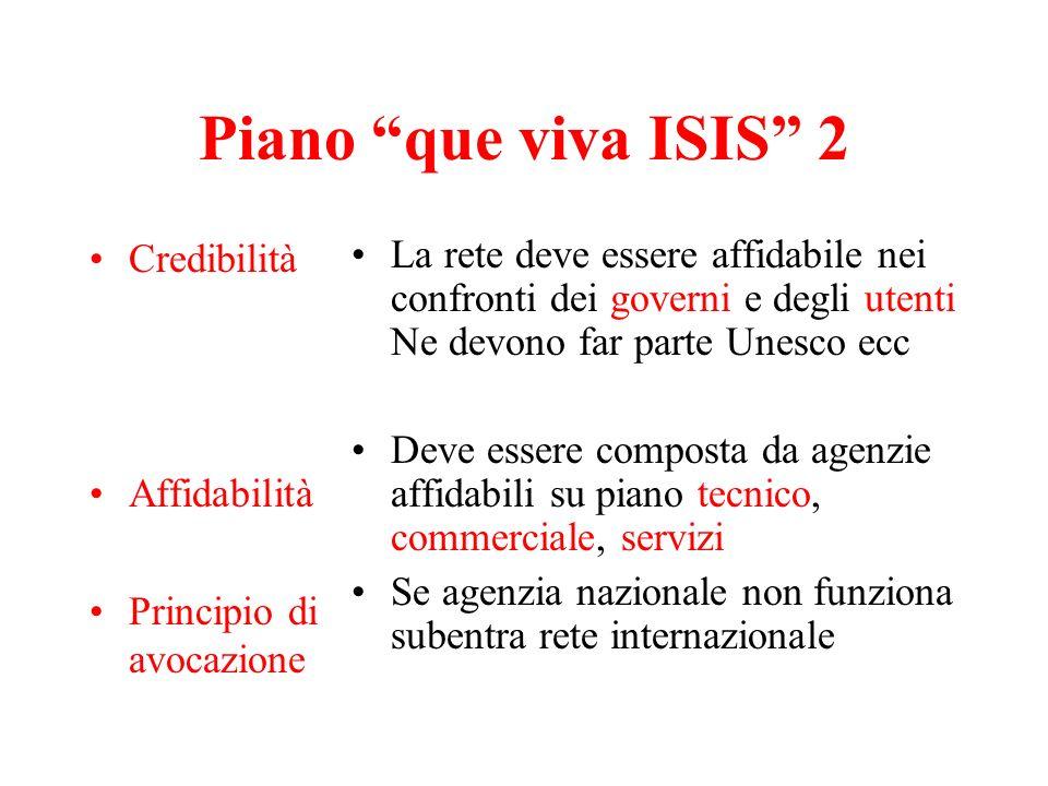 Piano que viva ISIS 2 Credibilità Affidabilità Principio di avocazione La rete deve essere affidabile nei confronti dei governi e degli utenti Ne devo