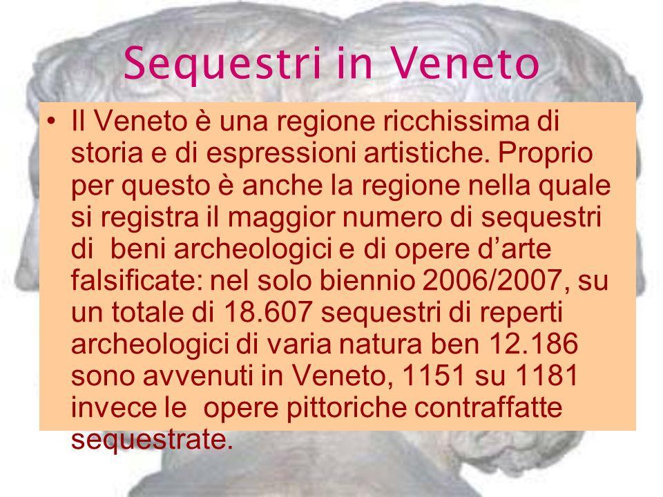 Sequestri in Veneto Il Veneto è una regione ricchissima di storia e di espressioni artistiche. Proprio per questo è anche la regione nella quale si re
