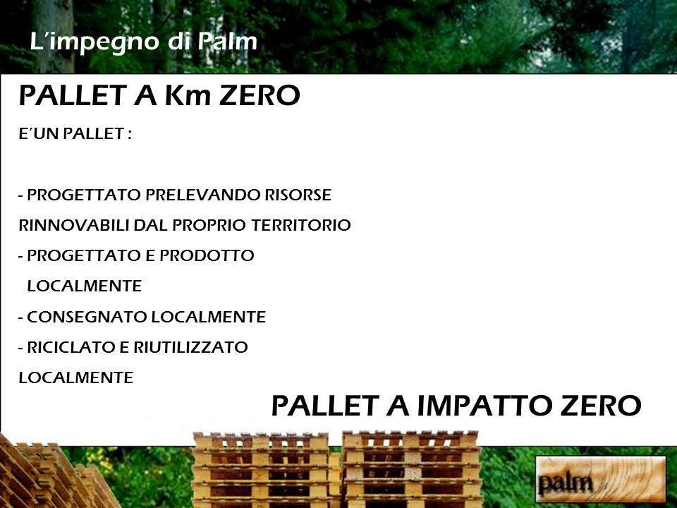 Limpegno di Palm PALLET A IMPATTO ZERO PALLET A Km ZERO EUN PALLET : - PROGETTATO PRELEVANDO RISORSE RINNOVABILI DAL PROPRIO TERRITORIO - PROGETTATO E