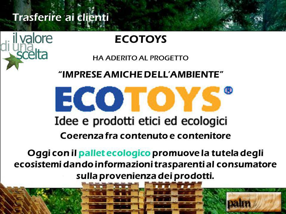 Trasferire ai clienti Coerenza fra contenuto e contenitore Oggi con il pallet ecologico promuove la tutela degli ecosistemi dando informazioni trasparenti al consumatore sulla provenienza dei prodotti.