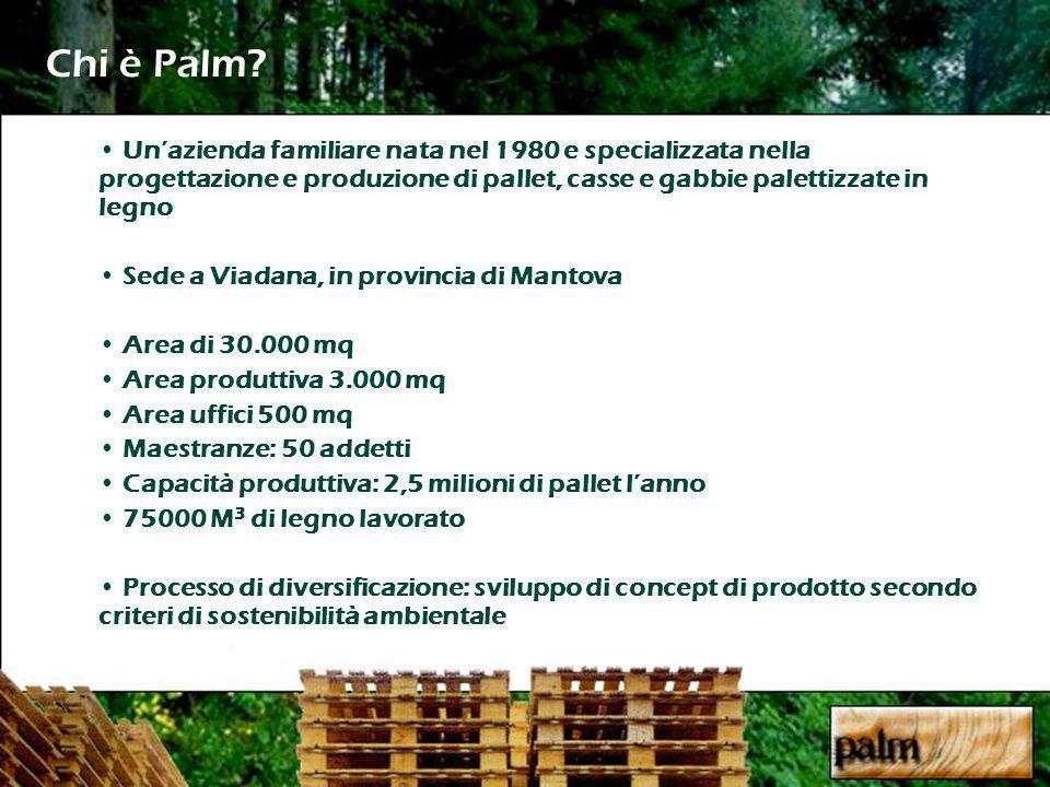 Chi è Palm? Unazienda familiare nata nel 1980 e specializzata nella progettazione e produzione di pallet, casse e gabbie palettizzate in legno Sede a