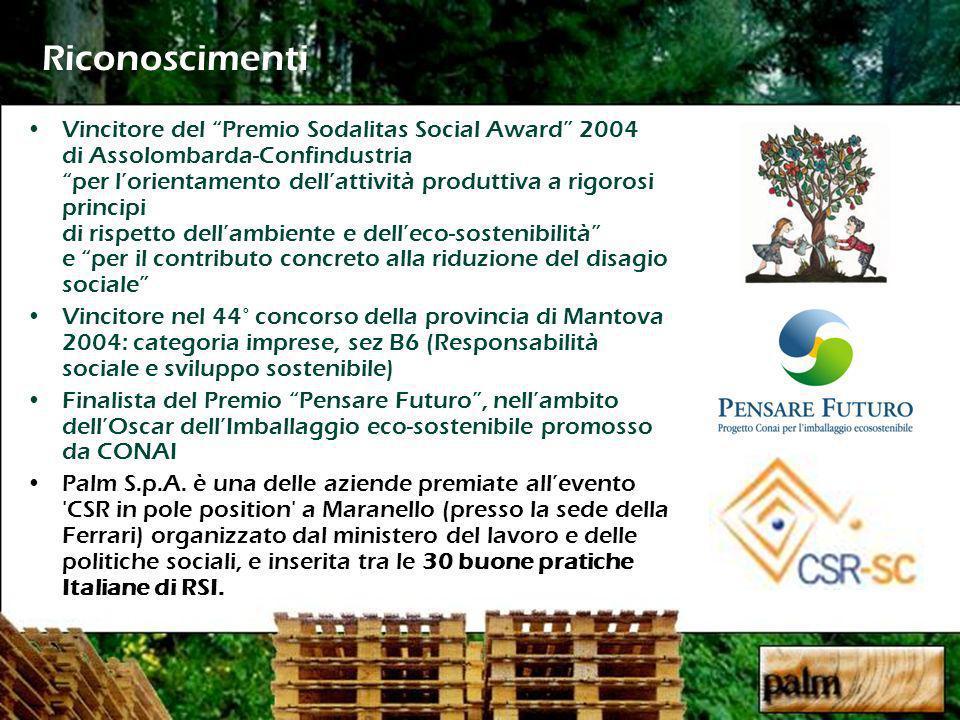 Riconoscimenti Vincitore del Premio Sodalitas Social Award 2004 di Assolombarda-Confindustriaper lorientamento dellattività produttiva a rigorosi principi di rispetto dellambiente e delleco-sostenibilità e per il contributo concreto alla riduzione del disagio sociale Vincitore nel 44° concorso della provincia di Mantova 2004: categoria imprese, sez B6 (Responsabilità sociale e sviluppo sostenibile) Finalista del Premio Pensare Futuro, nellambito dellOscar dellImballaggio eco-sostenibile promosso da CONAI Palm S.p.A.