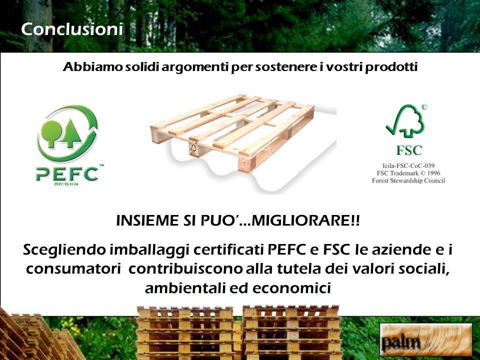 Conclusioni Abbiamo solidi argomenti per sostenere i vostri prodotti INSIEME SI PUO…MIGLIORARE!! Scegliendo imballaggi certificati PEFC e FSC le azien