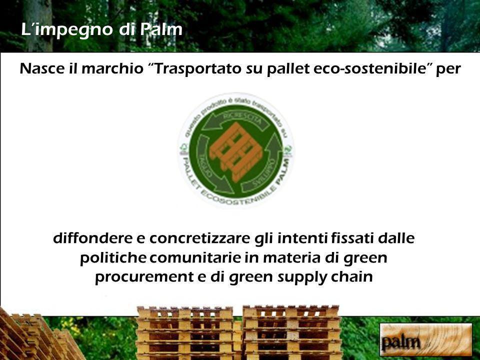 Nasce il marchio Trasportato su pallet eco-sostenibile per Limpegno di Palm diffondere e concretizzare gli intenti fissati dalle politiche comunitarie in materia di green procurement e di green supply chain