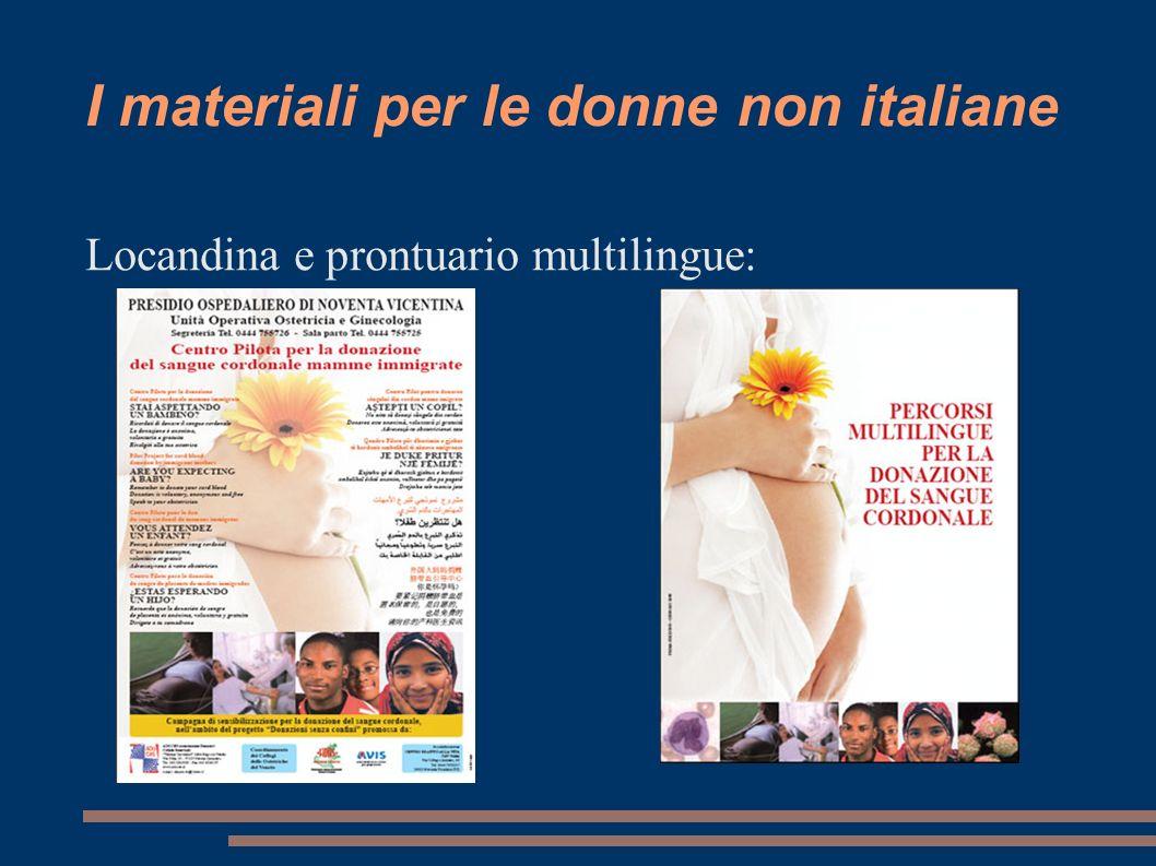 I materiali per le donne non italiane Locandina e prontuario multilingue: