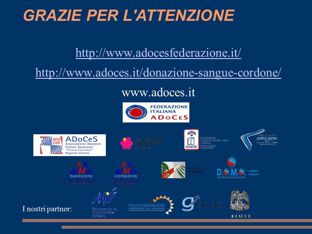http://www.adocesfederazione.it/ http://www.adoces.it/donazione-sangue-cordone/ www.adoces.it I nostri partner: GRAZIE PER L'ATTENZIONE