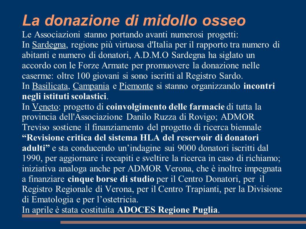 La donazione di midollo osseo Le Associazioni stanno portando avanti numerosi progetti: In Sardegna, regione più virtuosa d'Italia per il rapporto tra