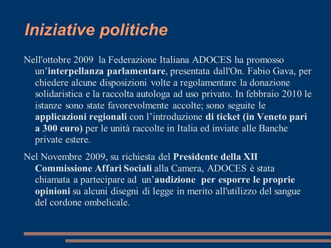Iniziative politiche Nell'ottobre 2009 la Federazione Italiana ADOCES ha promosso uninterpellanza parlamentare, presentata dall'On. Fabio Gava, per ch