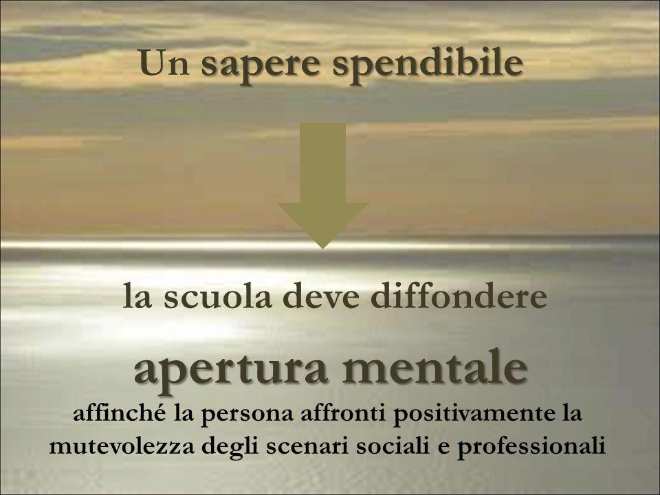 sapere spendibile Un sapere spendibile la scuola deve diffondere apertura mentale affinché la persona affronti positivamente la mutevolezza degli scen