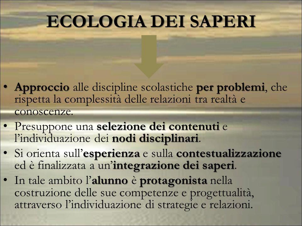 Approccioper problemi Approccio alle discipline scolastiche per problemi, che rispetta la complessità delle relazioni tra realtà e conoscenze. selezio