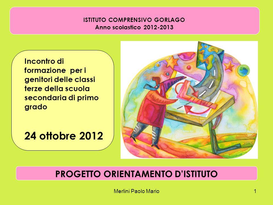 Merlini Paolo Mario1 ISTITUTO COMPRENSIVO GORLAGO Anno scolastico 2012-2013 Incontro di formazione per i genitori delle classi terze della scuola seco
