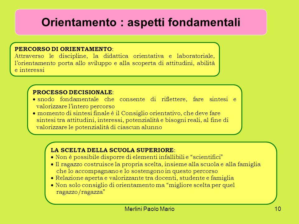 Merlini Paolo Mario10 Orientamento : aspetti fondamentali PERCORSO DI ORIENTAMENTO : Attraverso le discipline, la didattica orientativa e laboratorial