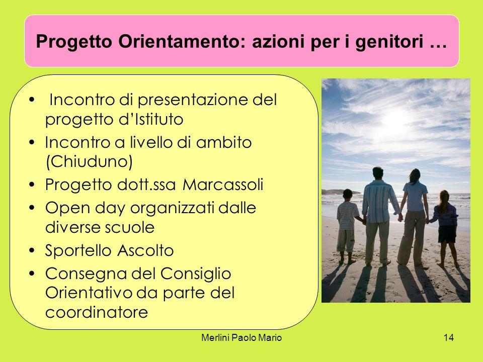 Merlini Paolo Mario14 Progetto Orientamento: azioni per i genitori … Incontro di presentazione del progetto dIstituto Incontro a livello di ambito (Ch