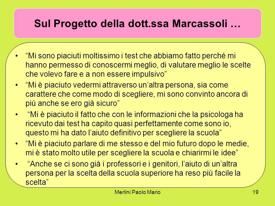 Merlini Paolo Mario19 Sul Progetto della dott.ssa Marcassoli … Mi sono piaciuti moltissimo i test che abbiamo fatto perché mi hanno permesso di conosc