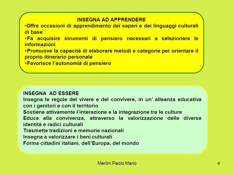 Merlini Paolo Mario4 INSEGNA AD APPRENDERE Offre occasioni di apprendimento dei saperi e dei linguaggi culturali di base Fa acquisire strumenti di pen
