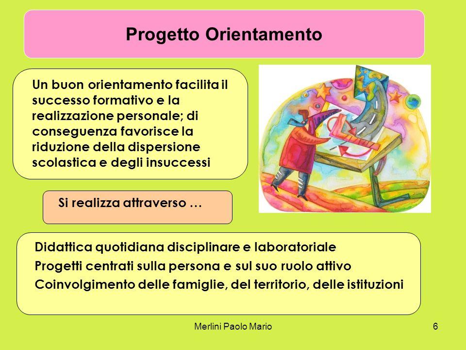 Merlini Paolo Mario6 Progetto Orientamento Un buon orientamento facilita il successo formativo e la realizzazione personale; di conseguenza favorisce