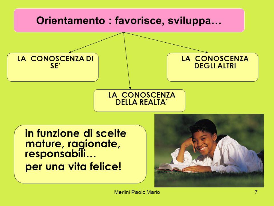Merlini Paolo Mario7 LA CONOSCENZA DI SE in funzione di scelte mature, ragionate, responsabili… per una vita felice! Orientamento : favorisce, svilupp