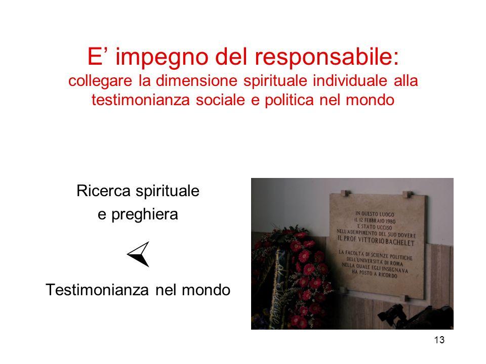13 E impegno del responsabile: collegare la dimensione spirituale individuale alla testimonianza sociale e politica nel mondo Ricerca spirituale e preghiera Testimonianza nel mondo