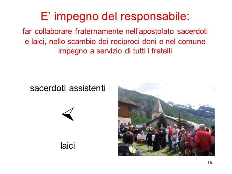 15 E impegno del responsabile: far collaborare fraternamente nellapostolato sacerdoti e laici, nello scambio dei reciproci doni e nel comune impegno a