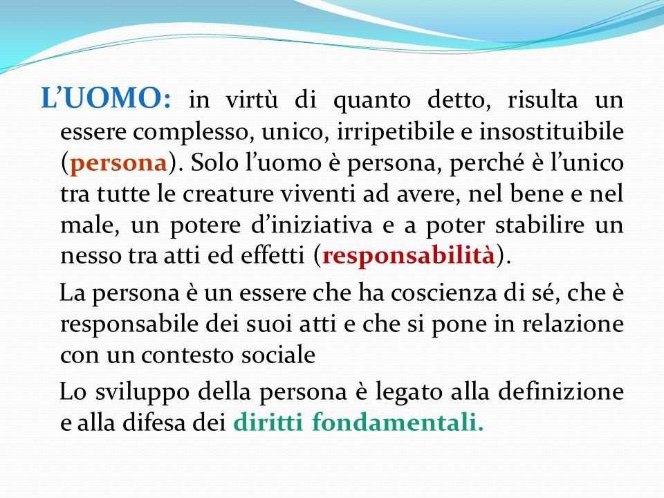 LUOMO: in virtù di quanto detto, risulta un essere complesso, unico, irripetibile e insostituibile (persona).