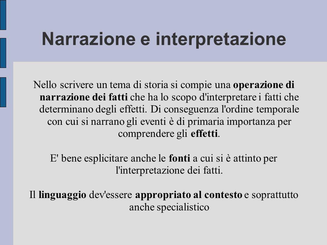 Narrazione e interpretazione Nello scrivere un tema di storia si compie una operazione di narrazione dei fatti che ha lo scopo d'interpretare i fatti