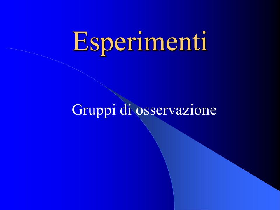 Esperimenti Gruppi di osservazione